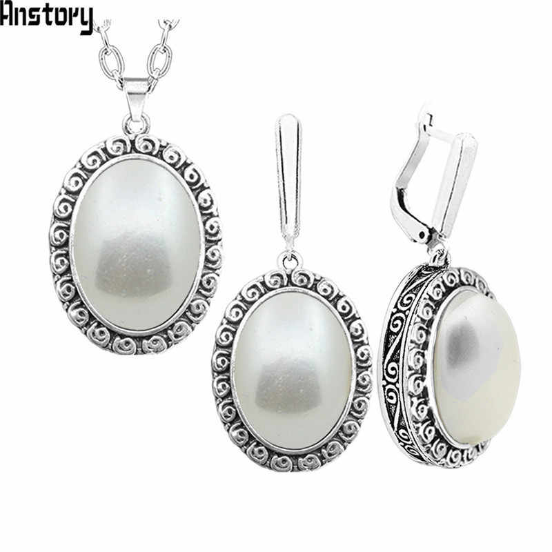 Oval Pearl Necklace Earrings Jewelry Set For Women Stainless Steel Chain Flower Pendant Fashion Jewelry TS345