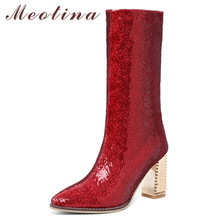 Купить с кэшбэком Meotina Winter Mid Calf Boots Women Slim Stretch Zipper Square Heel Boots Luxury Glitter Super High Heel Shoes Lady Fall Red 39