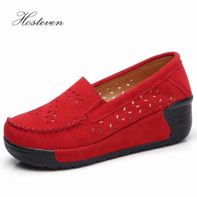 Hosteven Women Shoes Moccasins Loafers Sneakers Flat Platform Genuine Leather Summer Autumn Ladies Female Swing Hole Shoe