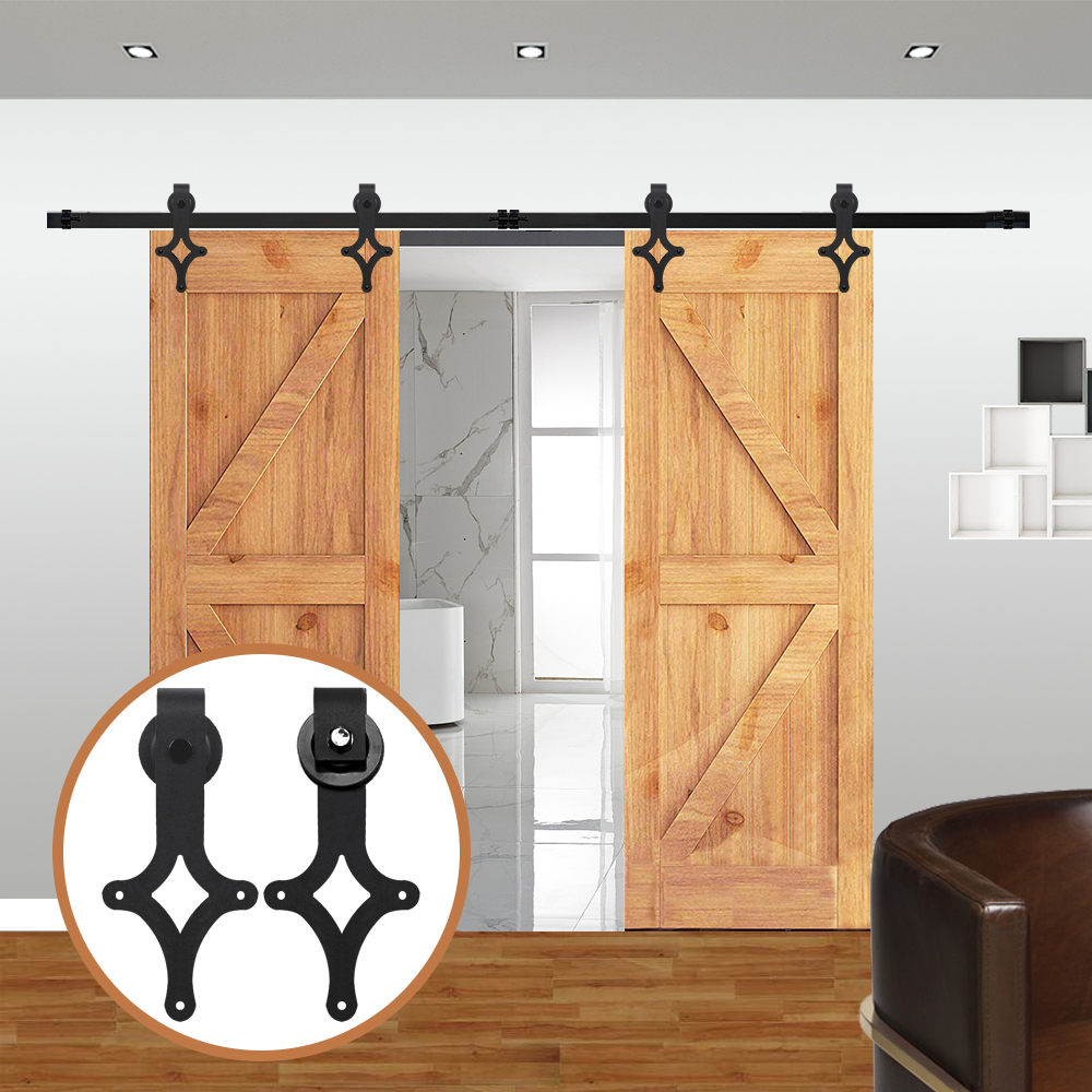 LWZH 7FT/8FT/ 9FT Black Carbon Steel Sliding Barn Door Rhombus Shaped Track Roller Barn Door Hardware Kit For Double Door