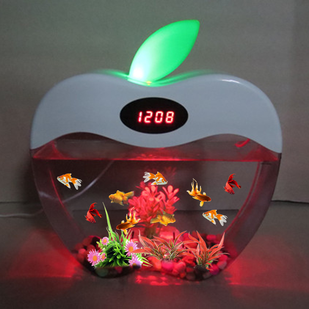 Aquarium USB Mini Aquarium avec LED veilleuse écran LCD et horloge Aquarium personnaliser D20 - 5