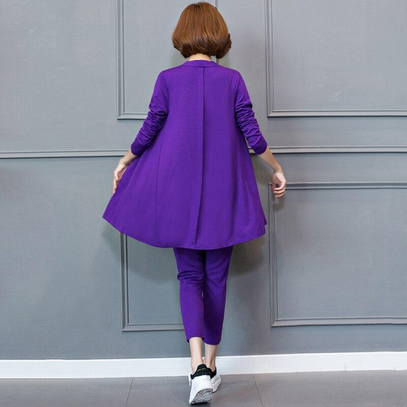 Dames 5xl Top La Deux De Automne Longues Pantalon Taille Extérieure Cardigan pourpre Élastique Mode Plus Costumes Noir Manches Nouvelle Pièces Printemps M Ensembles qvfwZxxYnz
