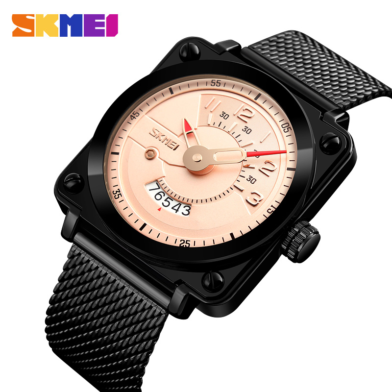 Men Fashion Watches Square Top Luxury Brand SKMEI Quartz Watch Vogue Waterproof Stainless Steel Mesh Band Male Relogio Masculino onlyou brand luxury fashion watches women men quartz watch high quality stainless steel wristwatches ladies dress watch 8892
