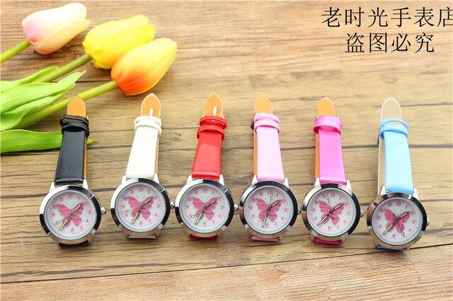 Новые прибыл дети милые животные Простой дизайн кварцевые часы для мальчиков и девочек милые бабочки циферблат учиться время кожа подарок часы 1