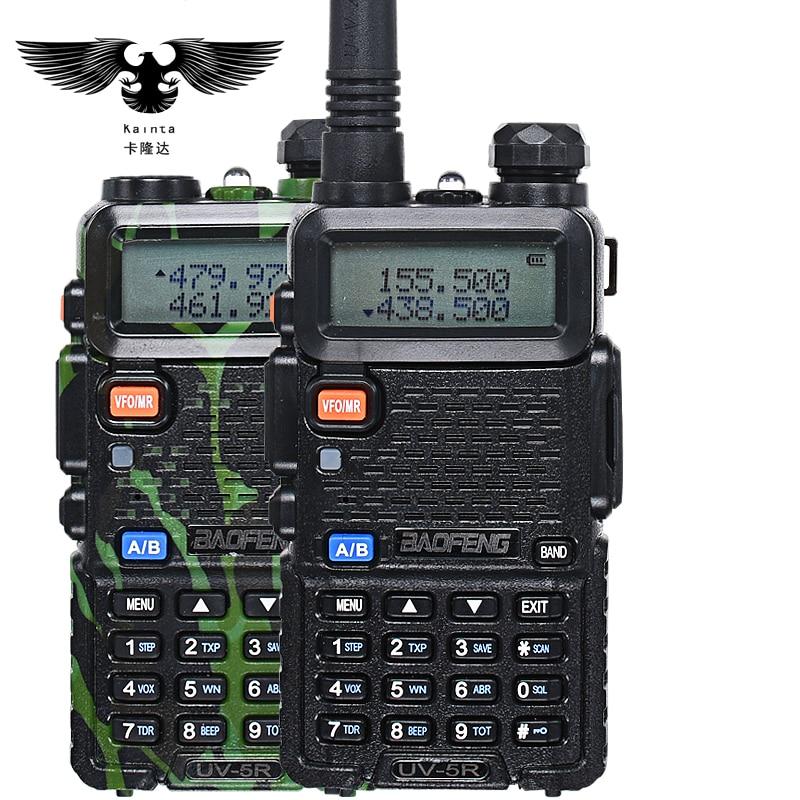BAOFENG UV-5R Walkie Talkie UHF VHF Dual Band CB Radio uv5r VOX Taschenlampe Dual Display FM Transceiver Mit PIN PTT Lautsprecher Mic