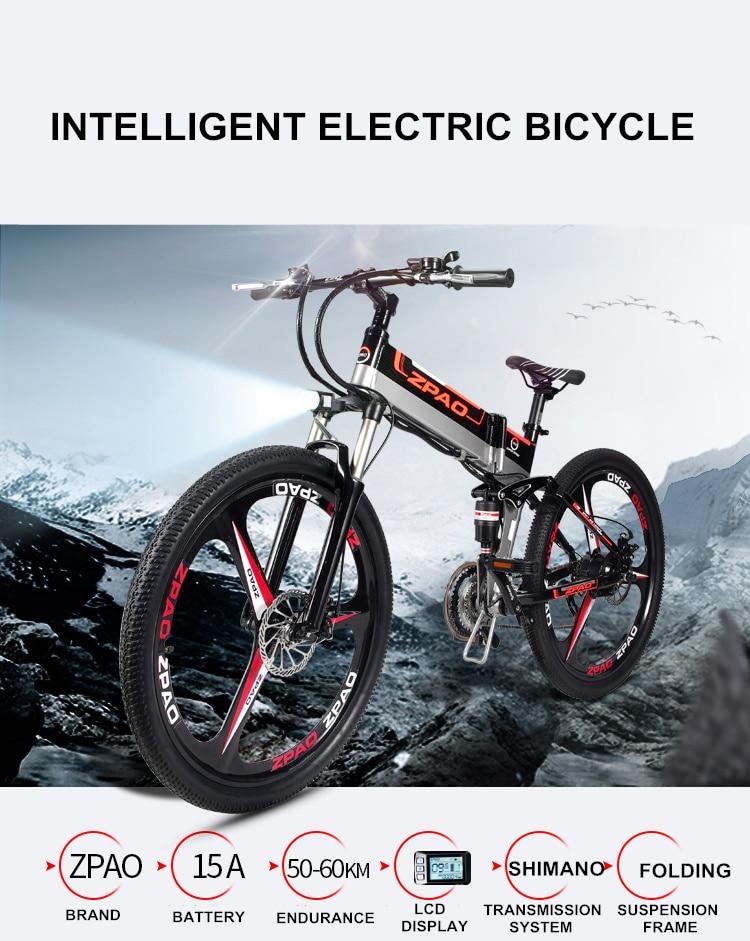 HTB1MlKTh3nH8KJjSspcq6z3QFXaK - 21 Velocity, 26 inches, 48V/15A, 350W, Folding Electrical Bicycle, Mountain Bike, Lithium Battery, Aluminum Alloy Body, Disc Brake.
