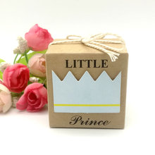 10/25/50pcs Kraft Paper Square Little Prince Boy Baby Shower Candy Box Childrens Day Birthday Party Favor