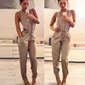 Sexy Women Rompers Fashion O-Neck Sleeveless High Waist Drawstring Jumpsuit Solid Pocket Long Jumpsuit 35