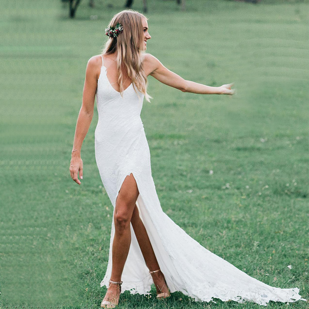 Charming Deep V-neck Lace Wedding Dresses with Slit Sexy Backless Boho Bridal Dress Garden Beach Robe de Mariage 2019 Bride Gown