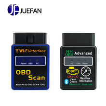 JUEFAN Profession Wifi bluetooth OBD2 Interface Scanner ELM 327 OBD II Supports Android IOS PC System OBD2 Diagnostic Tool