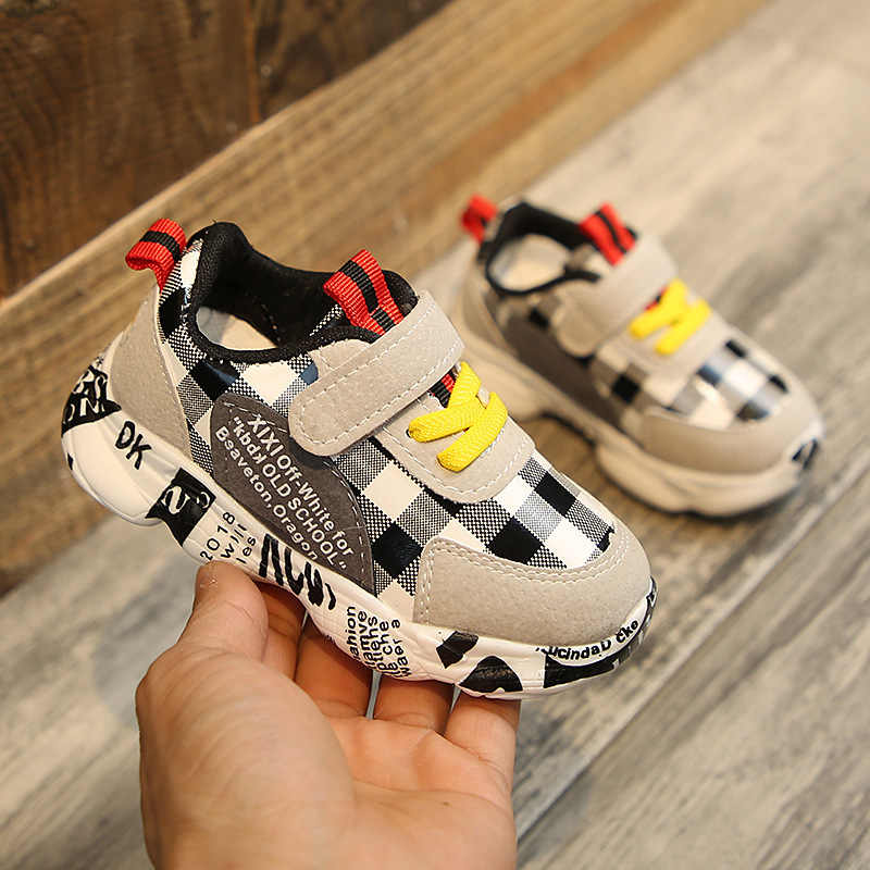 Children Boy Casual Shoes Kids Breathable Artificial Leather Plaid Sneakers Soft Bottom Toddler Boys Running Sport Shoes 1*Pair