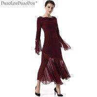 DuaoLouDuaoDou Trang Phục thiết kế Ban Đầu dài tay dresses chất lượng cao nữ Ren tay áo không thường xuyên hem khâu Slim dress