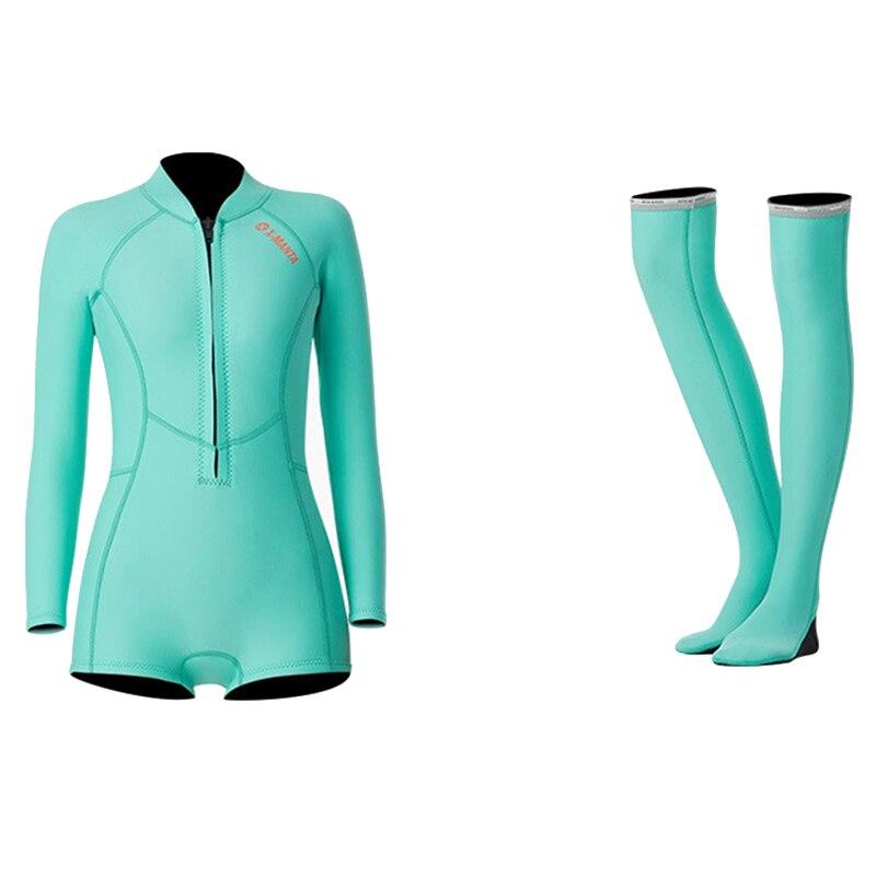 1,5 мм неопрен бикини гидрокостюм УФ Защита с длинным рукавом Дайвинг костюм купальный костюм серфинг подводное плавание чулки купальники - Цвет: Set Blue