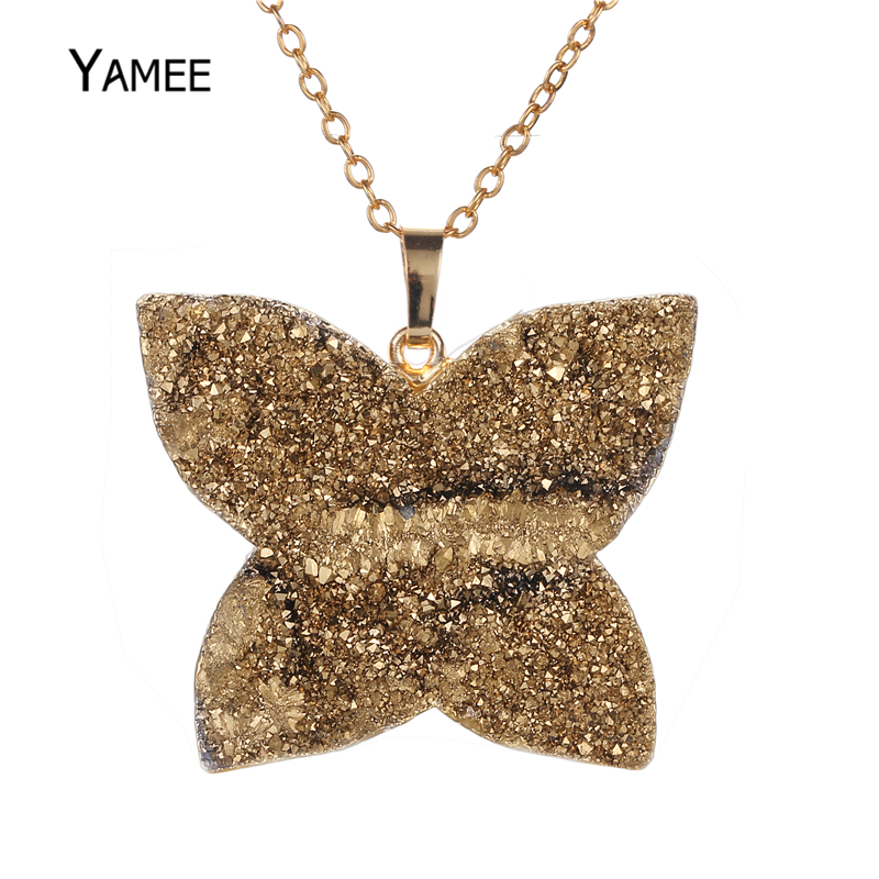 Hot Sale Fashion Butterfly Shape 32*40mm Nice Druzy Agates Pendant Gold Filled Necklace Gem Stone Charm Jewelry For Women