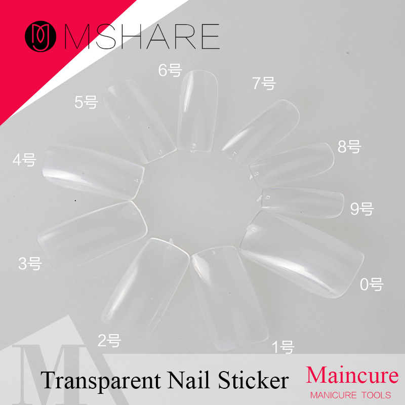 MSHARE 500pcs Transparent Nail Art Sticker Tools Beauty Decorations for on Nail Stickers 10 Different Sizes