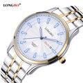 Amantes LONGBO Luxo Casal Relógios Homens Data Dia À Prova D' Água Mulheres Ouro Aço Inoxidável Quartz Relógio de Pulso Montre Homme 80087