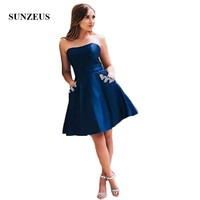 Королевский синий атлас бальные платья без бретелек трапециевидной формы короткая длина до колена Выпускные платья бисером карманы vestidos