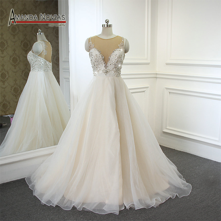 beading beach wedding dress champagne color 2017 new with slit on skirt in wedding dresses from. Black Bedroom Furniture Sets. Home Design Ideas