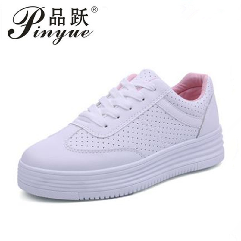 Fashion White Shoes Women Platform Sneakers Causal Shoes Trainers Summer Basket Femme Ladies Flat Sneakers Lace Up Zapatos Mujer