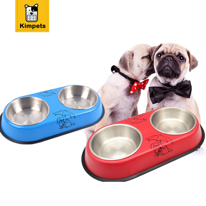 New Arrival Lovely Style Double Stainless Steel Dog Cat Puppy Pet Bowl Food Dish Anti-Slip Food Water Feeding Dish Pet Supplies ...