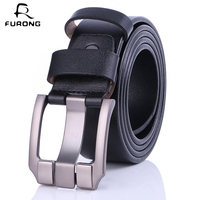 FURONG Fashion Men Belt Real Cow Leather Waist Belt Designer Pin Buckle Male Full grain Genuine Leather Strap Belt for Male