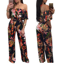 Long Print dress hot style Women sexy  wide leg boob tube top  strapless dress