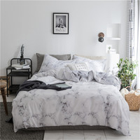 Marble Duvet Cover Set Queen Size Nature Granite Pattern with Cloudy Spotted Trace Effects Marble Artistic Men's boy Bedlinen