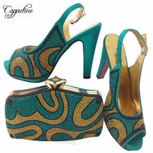 Capputine New Arrival African Shoes And Bag Set Gold Color Italian Ladies Shoe And Bag Set Decorated with Rhinestone Woman Shoes