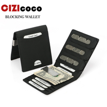 New Genuine Leather Men Wallet Small Coin Pocket Card Holders Engraved Name Logo Short Purse FRID Protection Male