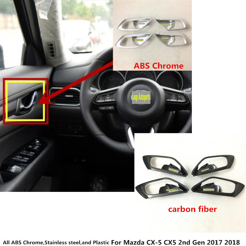 Free shipping car body styling cover stick trim door inner handle bowl frame lamp 4pcs/set For Mazda CX-5 CX5 2nd Gen 2017 2018 for mazda cx 5 cx5 2017 2018 kf 2nd gen car co pilot copilot stroage glove box handle frame cover stickers car styling