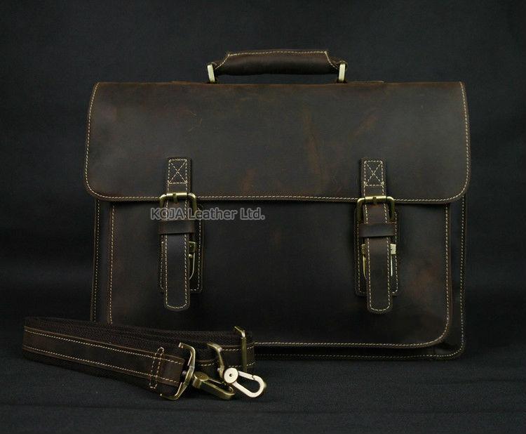Vintage Crazy Horse Leather Men Briefcase Laptop Bag Work Business Bag Genuine Leather Briefcase Men Shoulder Bag Crossbody bag 3