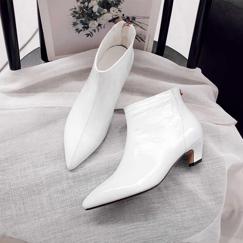Women's kitten heel white ankle boots