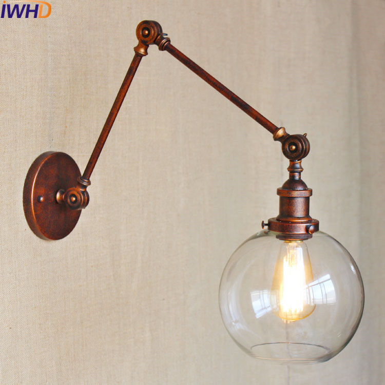 Swing Long Arm Sconce Retro Vintage Loft Wall Lamp In Bathroom Light Home Lighting Glass Iron Wandlamp Arandelas para parede
