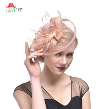 2019 Ladies Fascinator Hats Hemp Yarn Bride Wedding Hats and Fascinators for Women Elegant Church Hats Top Hat Feather Hair Clip