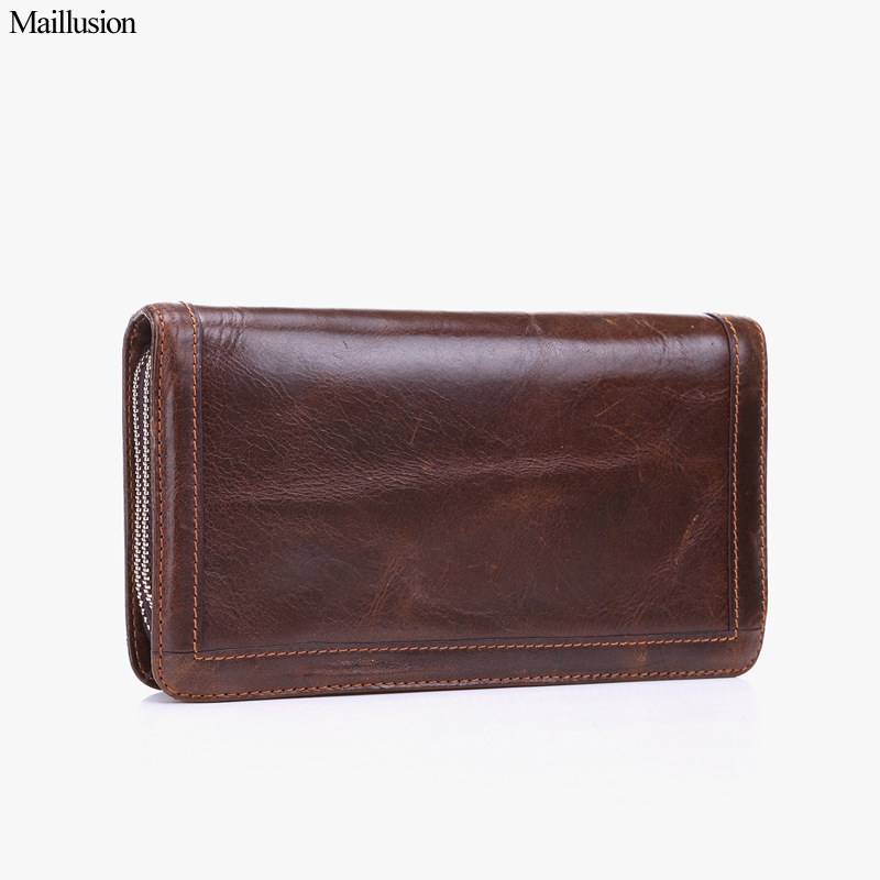 Maillusion Vintage Wallets Men Genius Leather Long Clutch Bag Double Zipper Money Pocket Vintage Cowhide Male Purse Card Holder simline vintage genuine cow leather cowhide mens men long double zipper wallet purse wallets card holder clutch bag bags for man