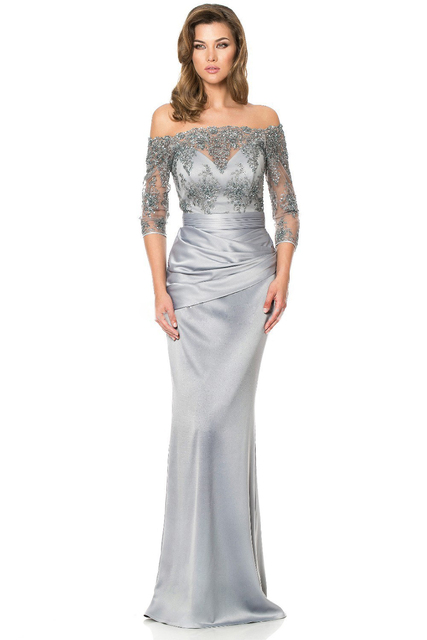 58f83c46ee3b 2015 Long Sleeves Gorgeous Sequins Bead Off Shoulder Mother of the Bride  Dresses Lace Floor-Length Grey Evening Dress Mother