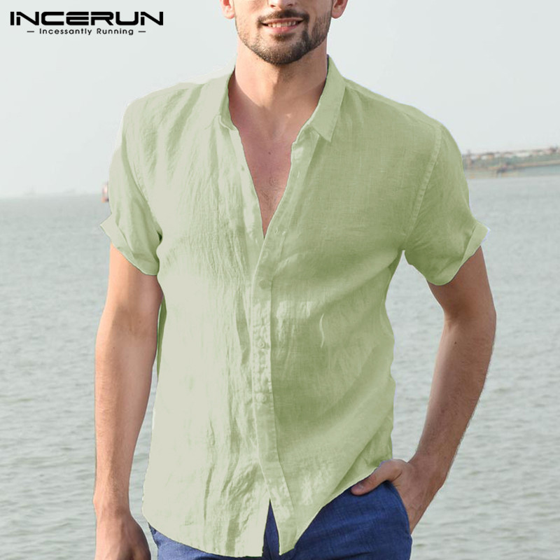 INCERUN 2019 Men Shirt Solid Lapel Neck Short Sleeve Cotton Casual Brand Shirt Loose Business Shirts Men Camisa Streetwear S-5XL