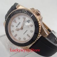Popular Hot Branco Relógio dos homens Movimento Automático Relógio de Ouro Caso Bezel Ceremic 40mm Relógio de Pulso|Relógios mecânicos| |  -