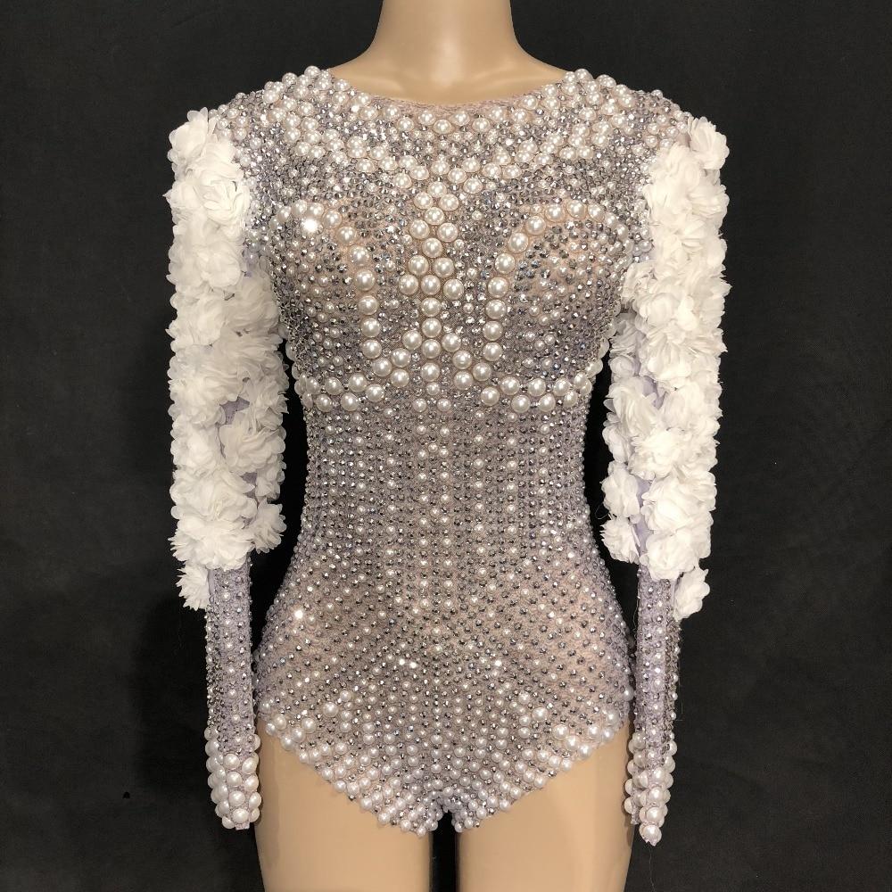 Sparkly Rhinestones Pearls Bodysuit White Flowers Women's Jumpsuit Birthday Celebrate Stage Singer Dance Show Nightclub Leotard