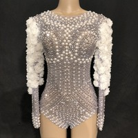 Sparkly Rhinestones Pearls Bodysuit White Flowers Women's Jumpsuit Birthday Celebrate Stage Singer Dance Show Nightclub Leotard