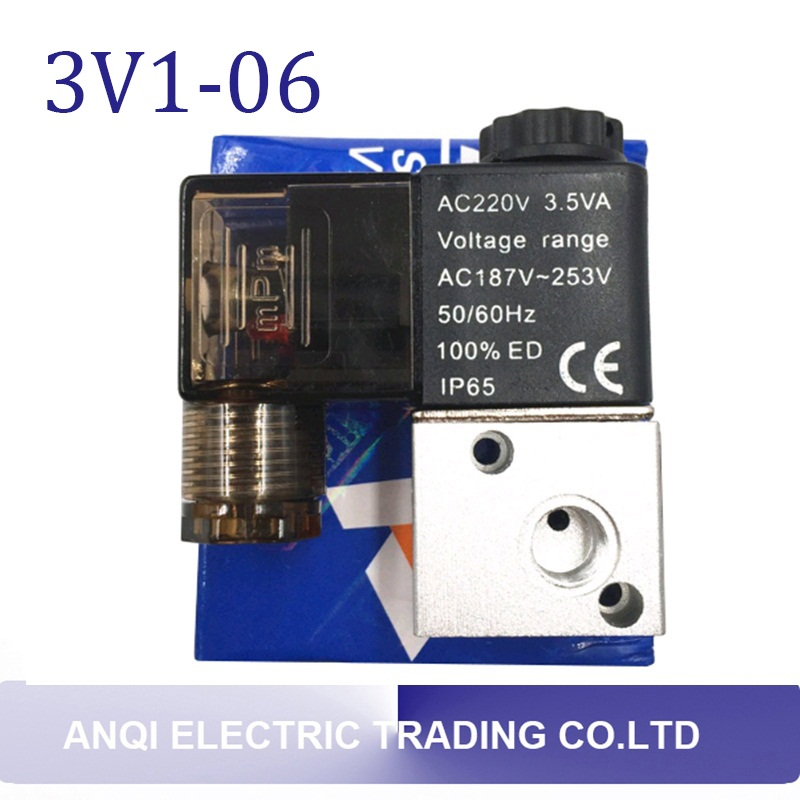 Pneumatic Air 3 Way 2 Position 1/8 AIRTAC Solenoid Valve 3V1-06 DC12V DC24V  AC110V AC220V dc24v inner guide type 2 position 3 way solenoid valve