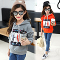 children spring clothes big kids girl hooded sweatshirt long full sleeves pullover tops fashion cool pattern print
