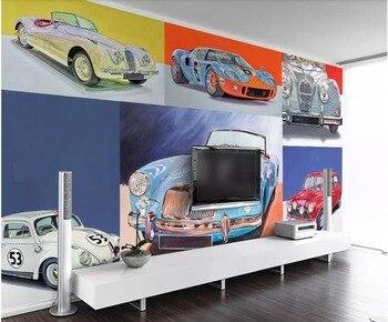 Mural fotográfico personalizado 3d papel pintado retro fresco nostálgico de lujo deportes coche sala de estar 3d pared murales papel tapiz para paredes 3 d