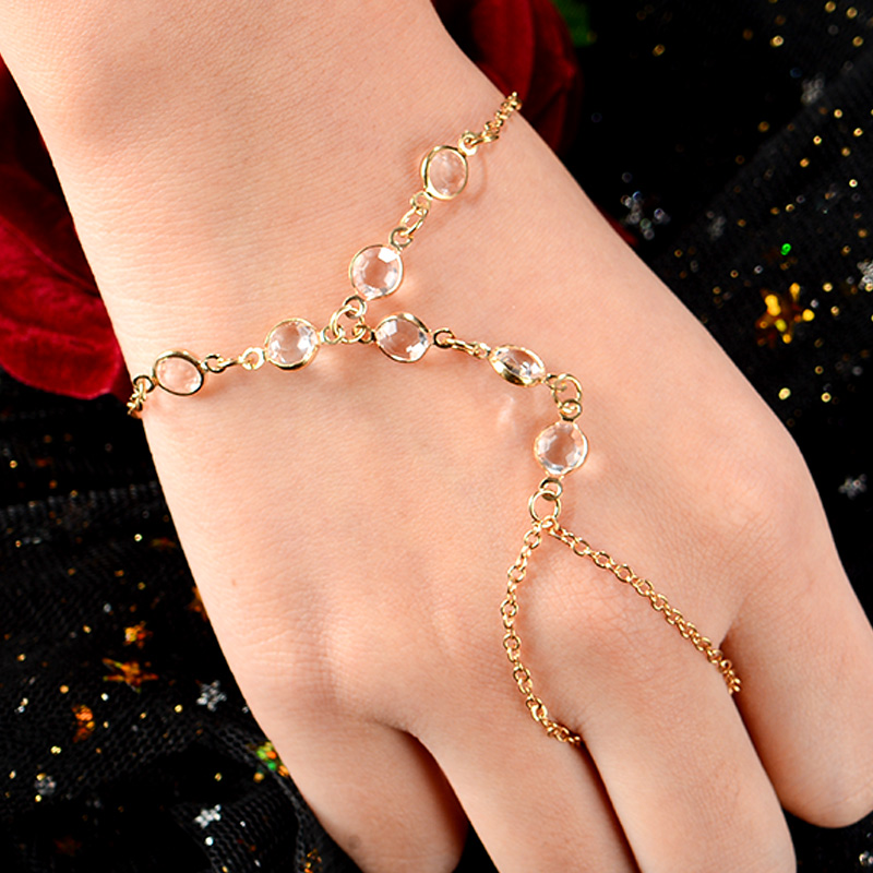 Infinity Love bowknot Bracelet Bangle Slave Chain Link Finger Ring Hand Harness