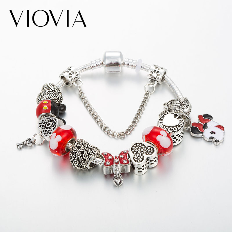 VIOVIA Mickey Charm Bracelets & Bangles Women DIY Jewelry Minnie Bow Knot Beads Fine Fit Pan Original Bracelet for Women Gift