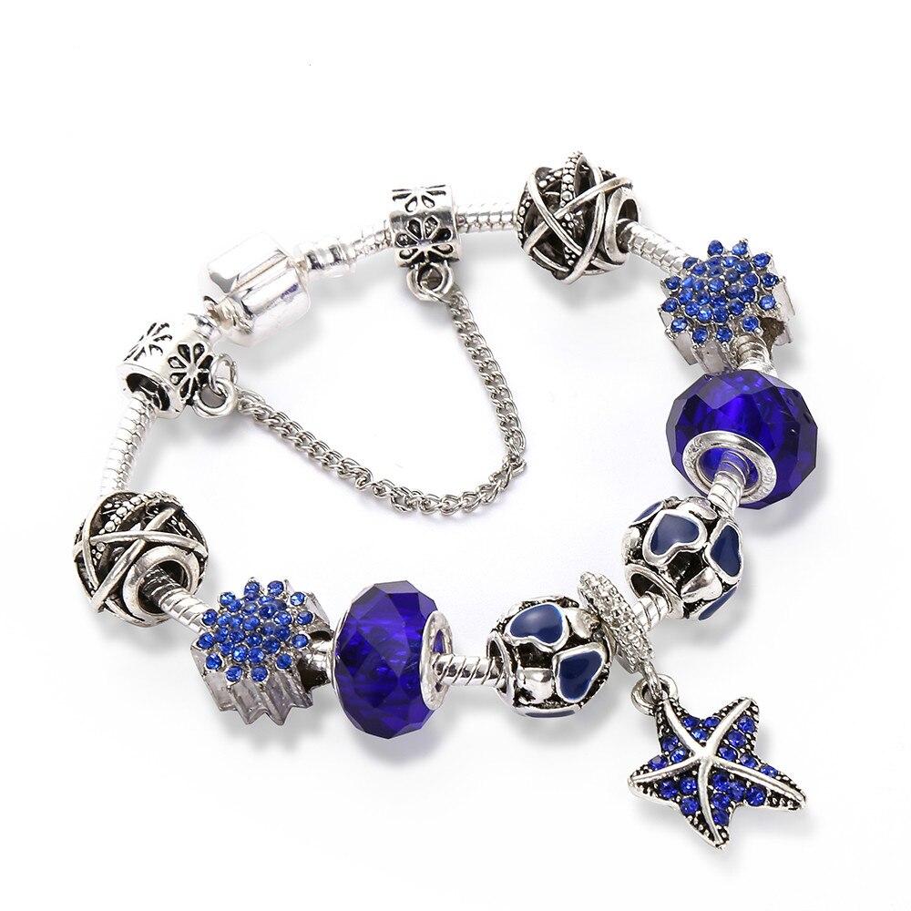 CUTEECO HOT Ocean Style Starfish Women Charm Bracelets Fashion Blue Crystal Glass Brand & Bangles Pulseras Mujer