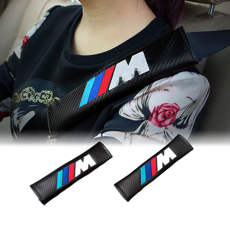 2P Carbon Fiber Seat Belt Cover Shoulder Pad fit for BMW M E90 E60 E39 E46 E36 E34 E83 E70 X5 E53 M3 X3 F10 F30 M5 E91 E92 X6 2pcs leather car seat leakproof pad cover leak plug seam cushion for bmw m performance e46 e39 e36 e60 e90 e34 f10 f30 e30 x5