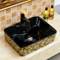 Ceramic Washbasin Bathroom Sink Countertop Black Gold Wash Basin Personality Lavatory Plating Golden Flower Washbowl 899