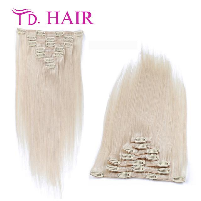 60 extensões de cabelo humano grau 7A platina loira brasileiro virgem grampo em extensões de cabelo DHL frete grátis