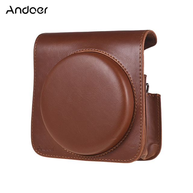 Andoer PU Leather Protective Camera Case Bag for Fujifilm Instax Square SQ6 Instant Film Camera Bag with Adjustable Strap